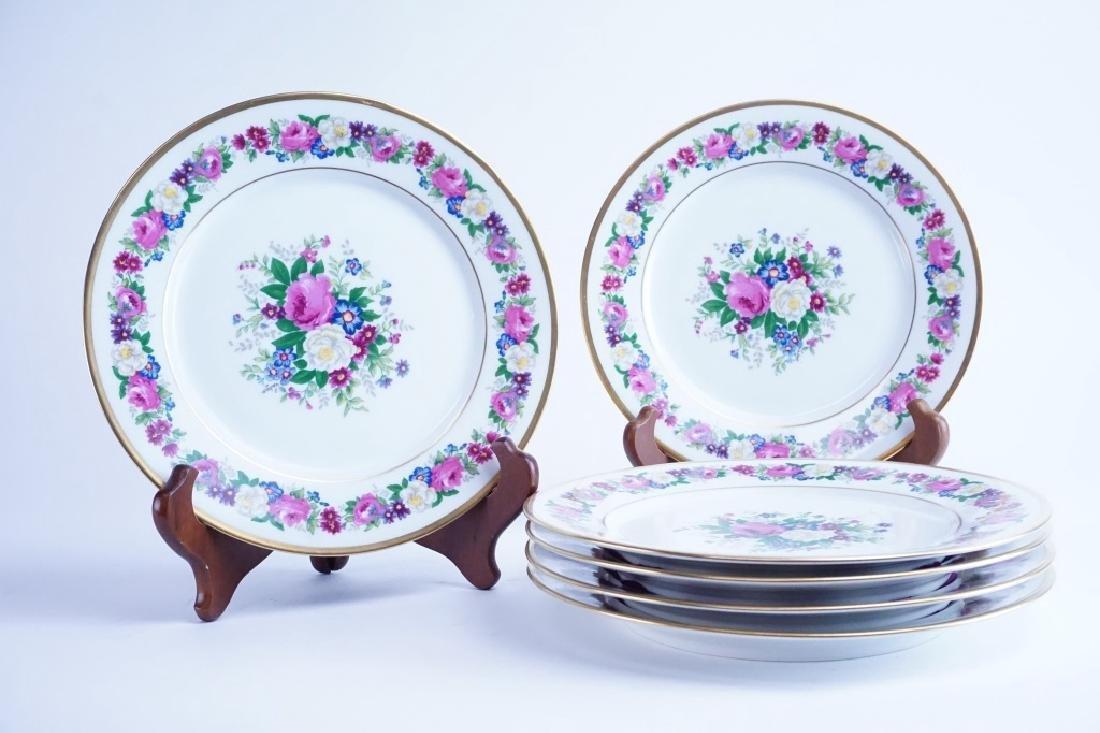(6) ANTIQUE LIMOGES FLORAL PATTERN DINNER PLATES