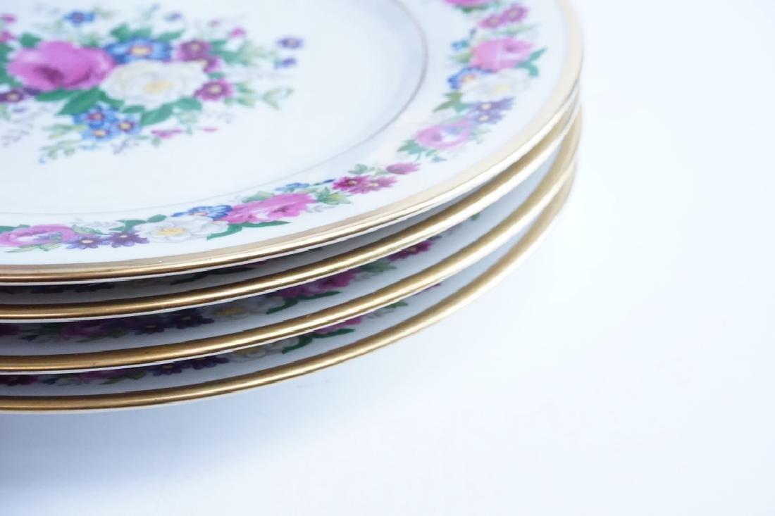 (6) ANTIQUE LIMOGES FLORAL PATTERN DINNER PLATES - 3