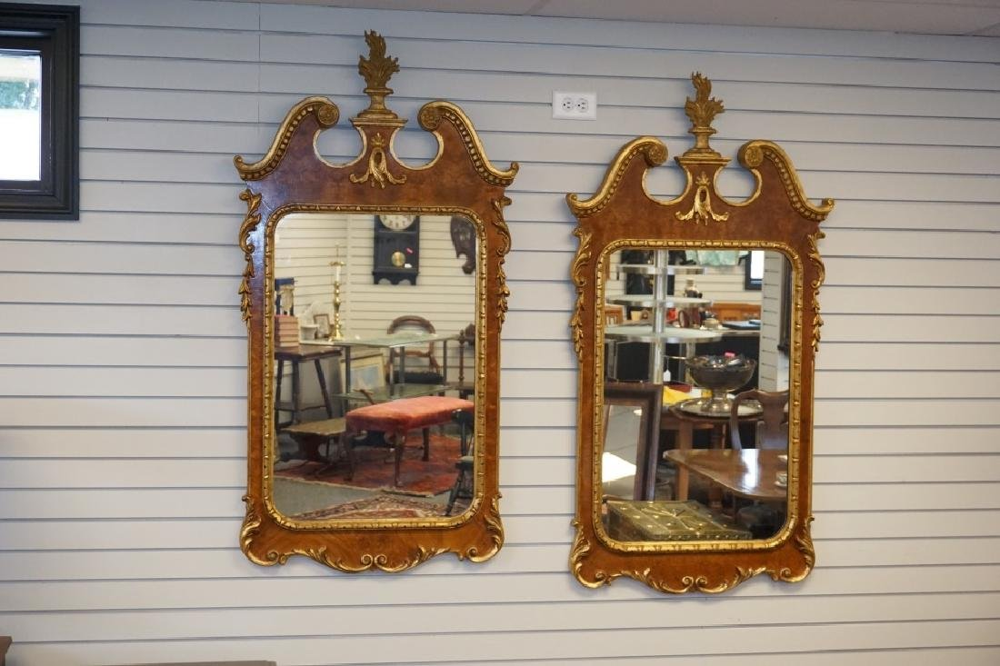 PAIR FEDERAL STYLE AND PARCEL GILT MIRRORS