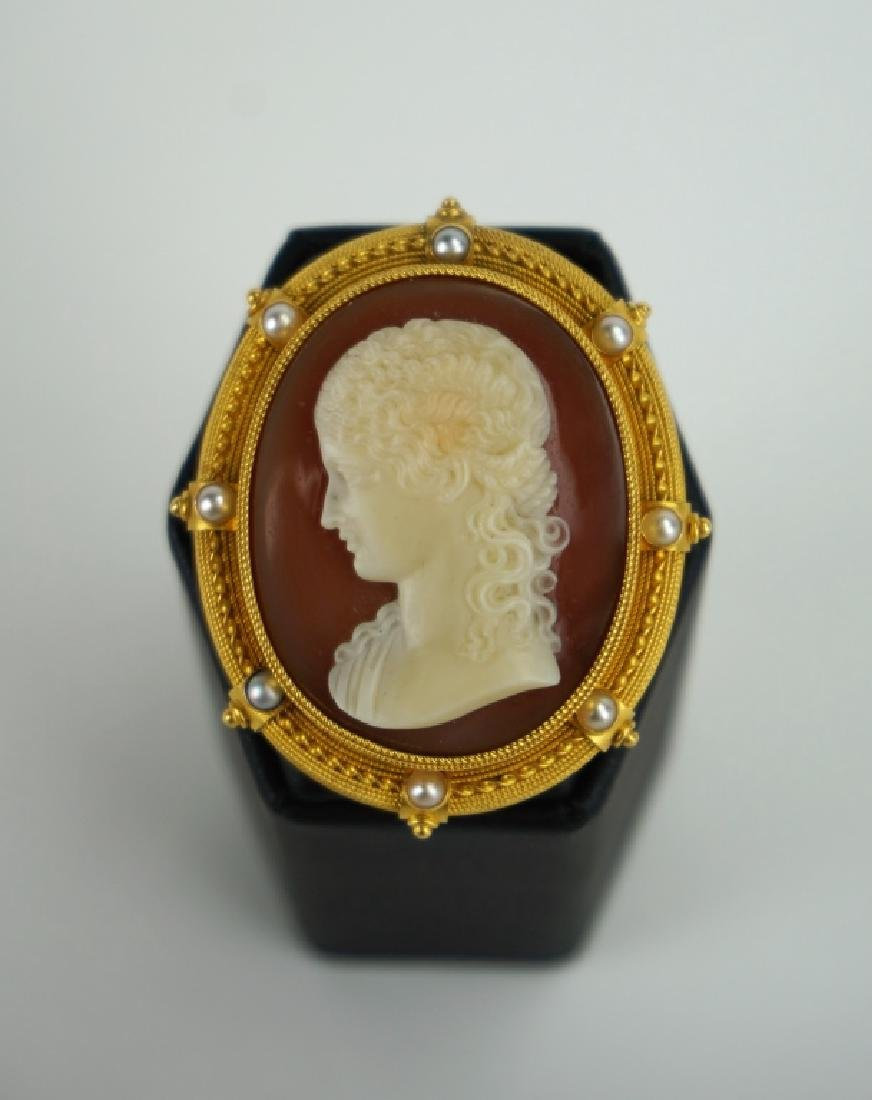 ANTIQUE FILIPPO TIGNANI 18K GOLD HARD STONE CAMEO