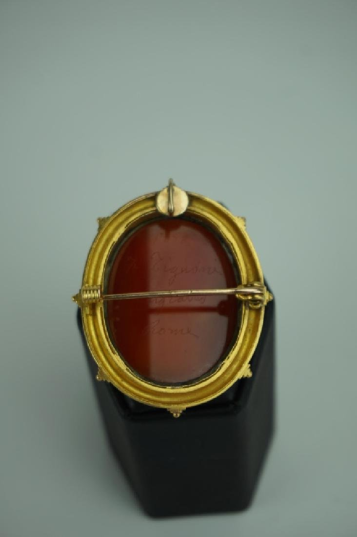 ANTIQUE FILIPPO TIGNANI 18K GOLD HARD STONE CAMEO - 4