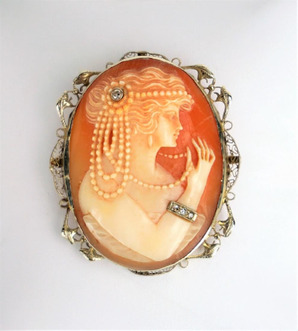 14K YELLOW GOLD AND DIAMOND HABILLE CAMEO