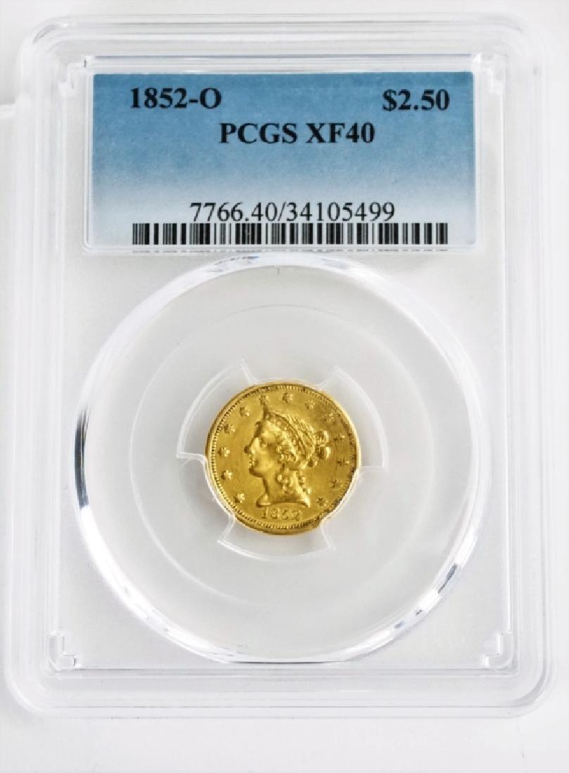 1852-O U.S. QUARTER EAGLE $2.50 GOLD COIN
