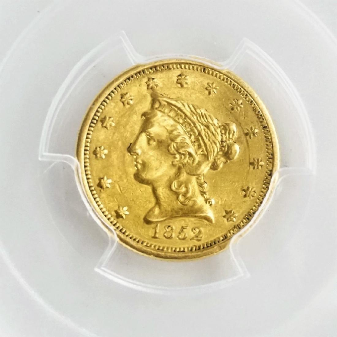1852-O U.S. QUARTER EAGLE $2.50 GOLD COIN - 3