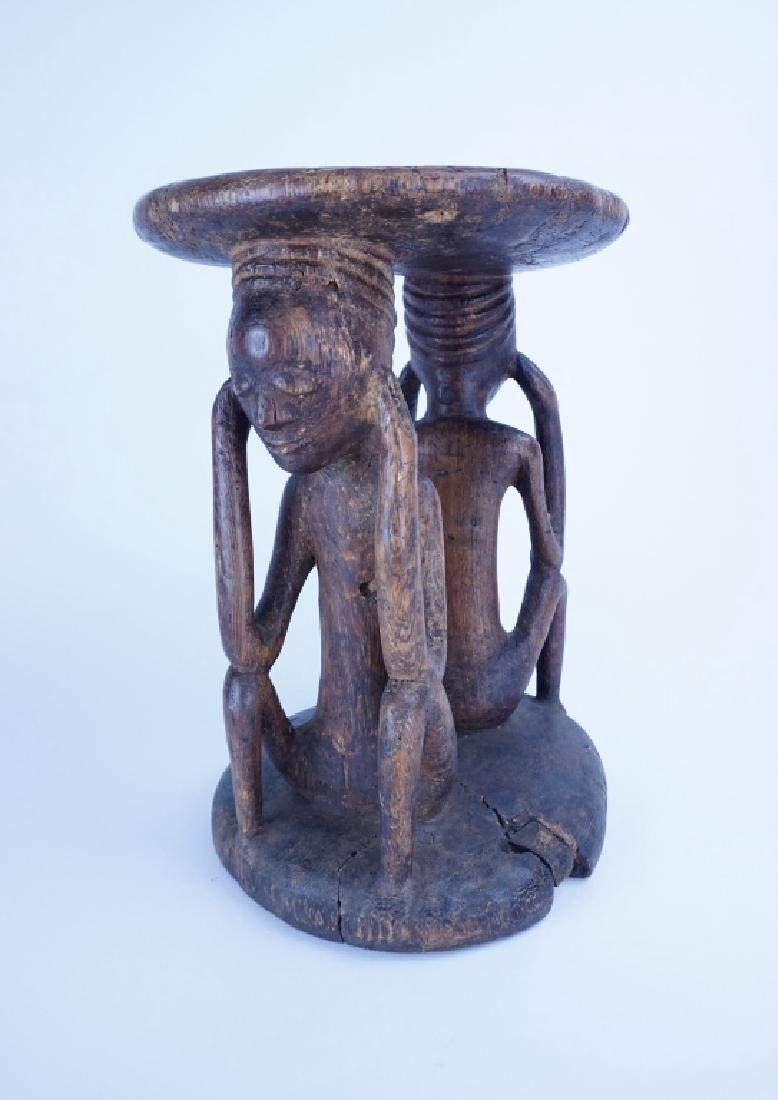 AFRICAN CARVED WOOD FIGURAL STOOL