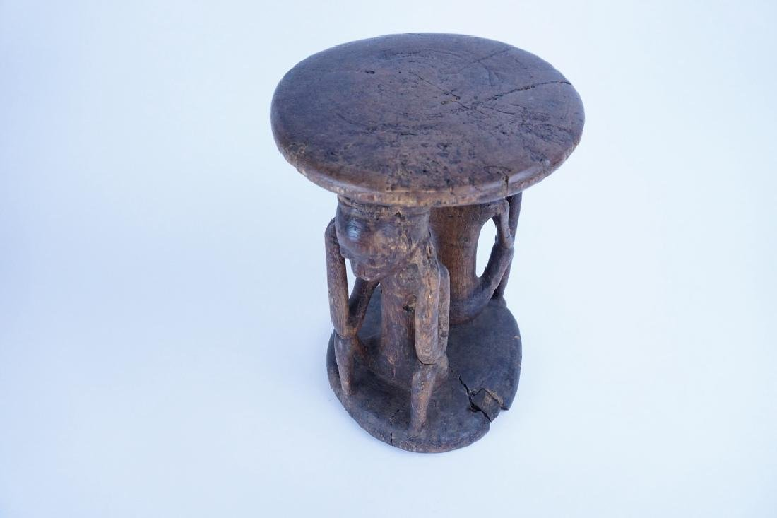 AFRICAN CARVED WOOD FIGURAL STOOL - 2