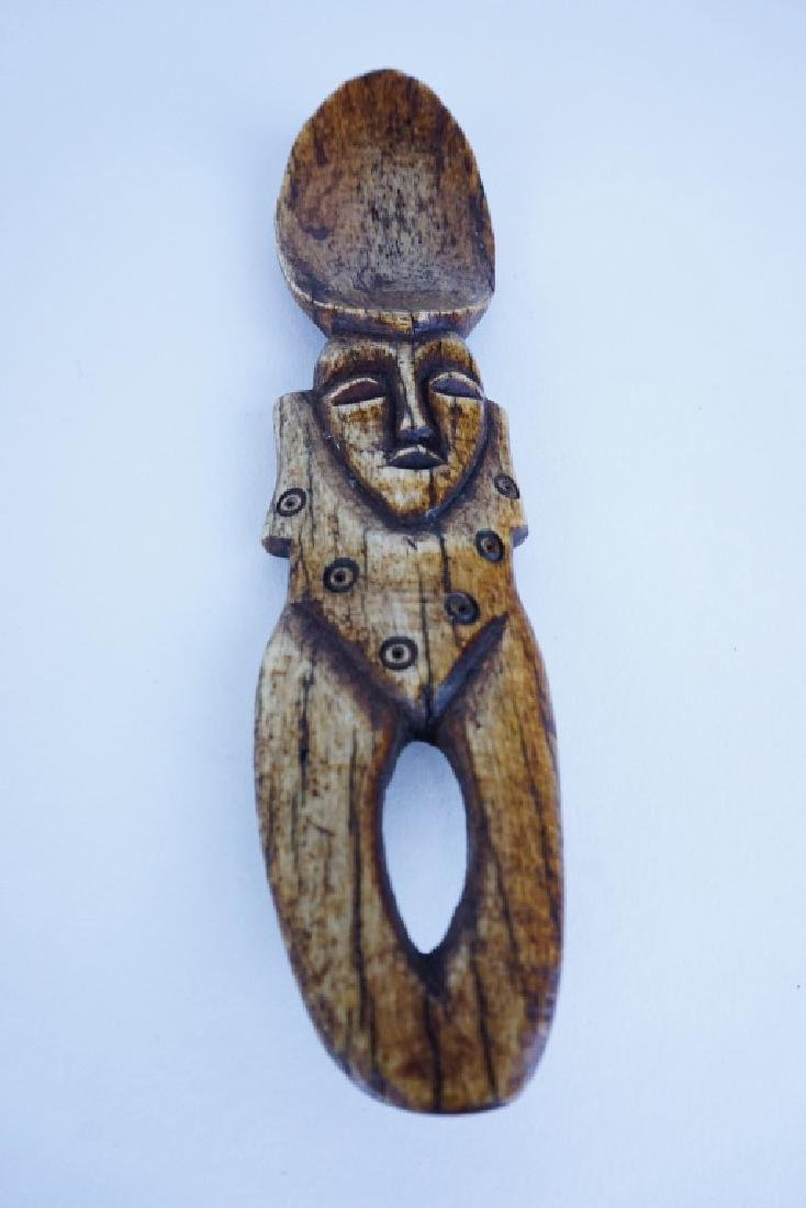 (4) ASSORTED AFRICAN CARVED BONE SPOONS - 2