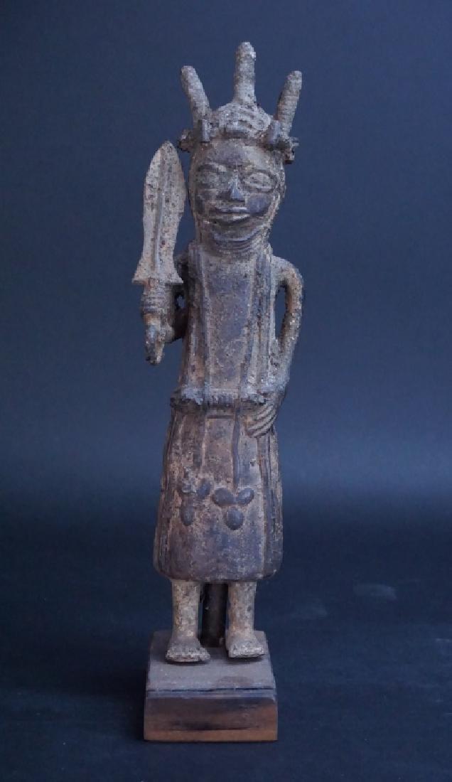 ETHNIC AFRICAN METAL WARRIOR FIGURE