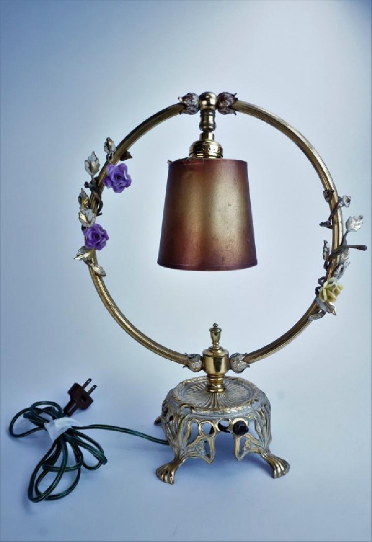 ANTIQUE BRASS & PORCELAIN CIRCULAR SWING LAMP