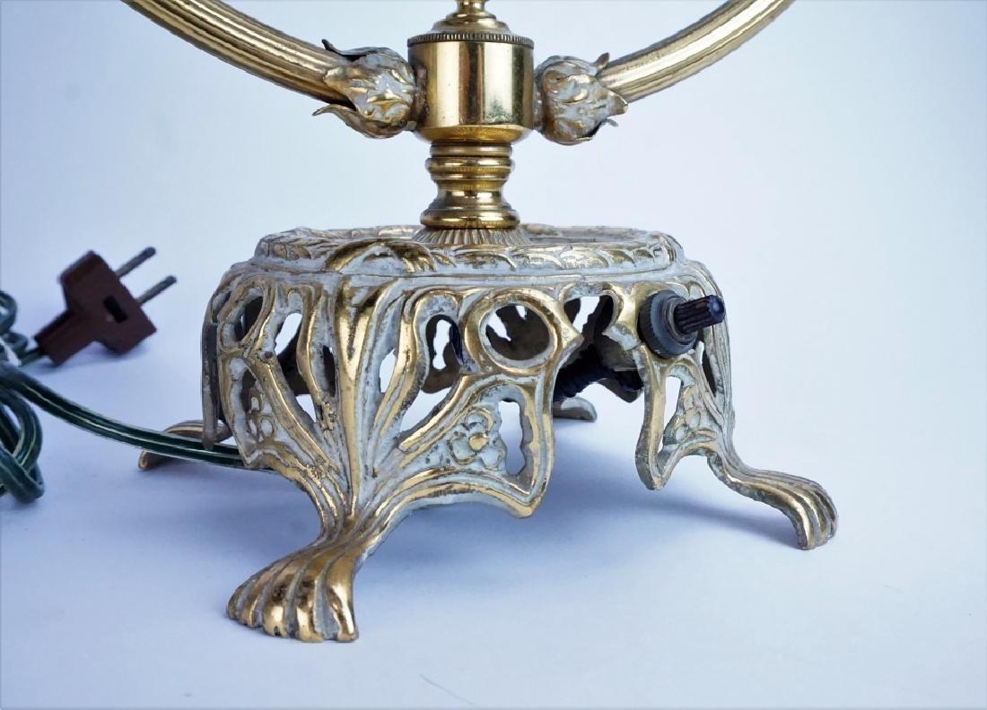 ANTIQUE BRASS & PORCELAIN CIRCULAR SWING LAMP - 2