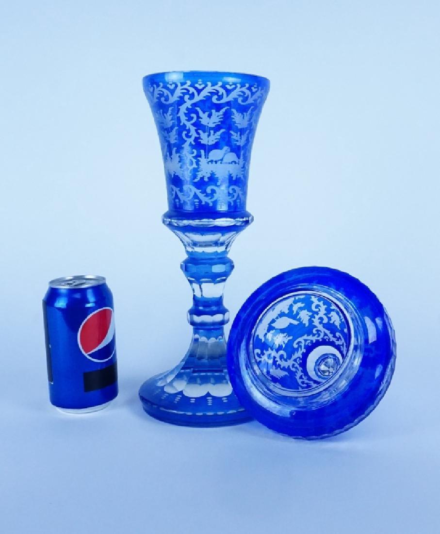 BLUE CUT TO CLEAR BOHEMIAN GLASS LIDDED URN - 7