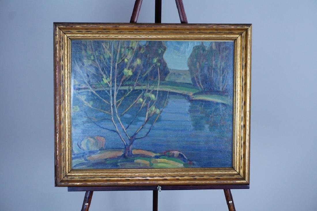 OIL ON BOARD COUNTRY LAKE LANDSCAPE