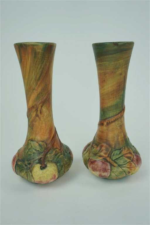 Pair Antique Weller Baldin Apple Bud Flower Vase