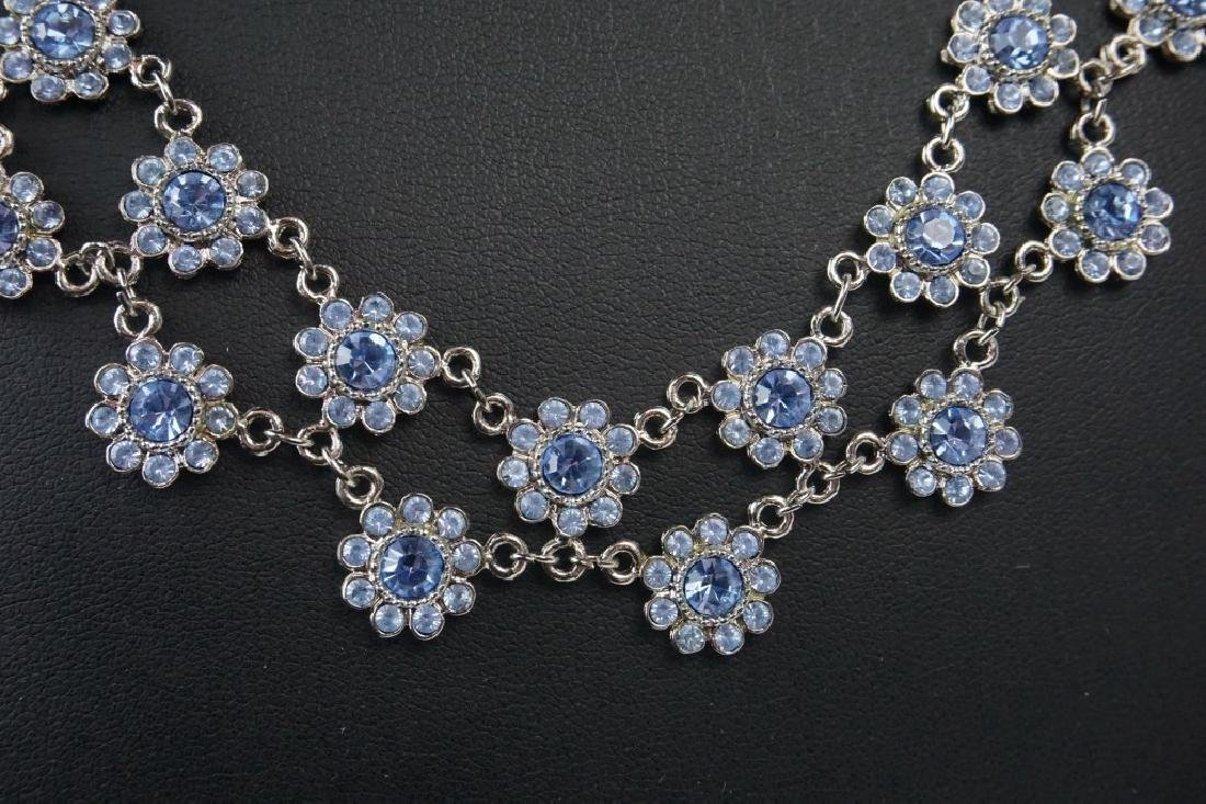 STERLING SILVER & CRYSTAL  FLORAL NECKLACE