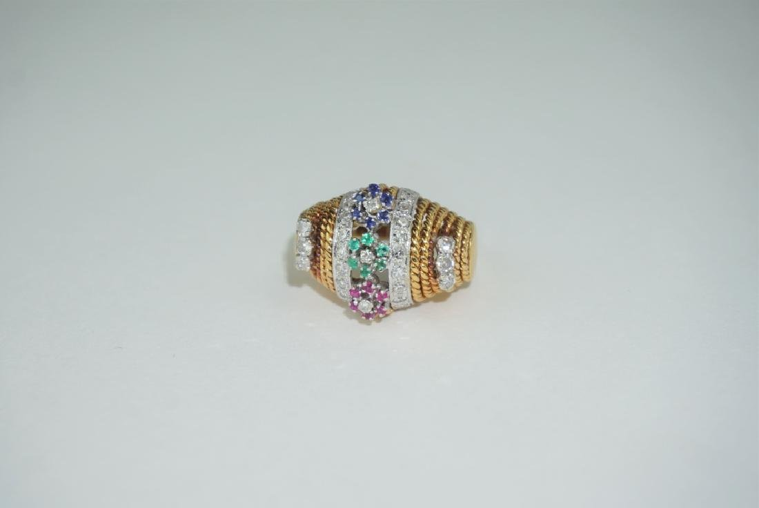 18K YELLOW GOLD DIAMOND AND GEMSTONE RING