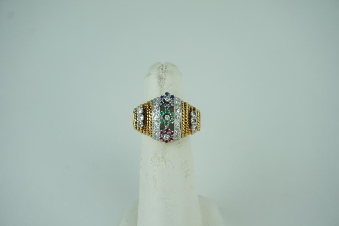 18K YELLOW GOLD DIAMOND AND GEMSTONE RING - 2