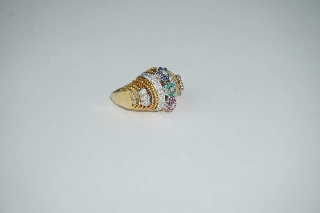 18K YELLOW GOLD DIAMOND AND GEMSTONE RING - 3
