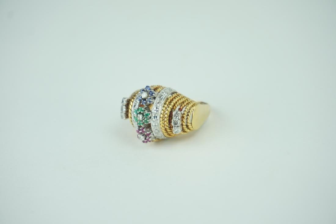 18K YELLOW GOLD DIAMOND AND GEMSTONE RING - 5