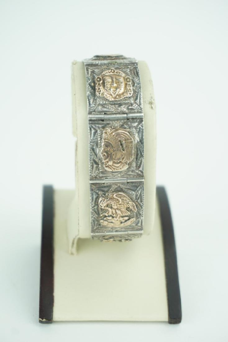 STERLING SILVER AZTEC 7-PANEL HINGED BRACELET - 2