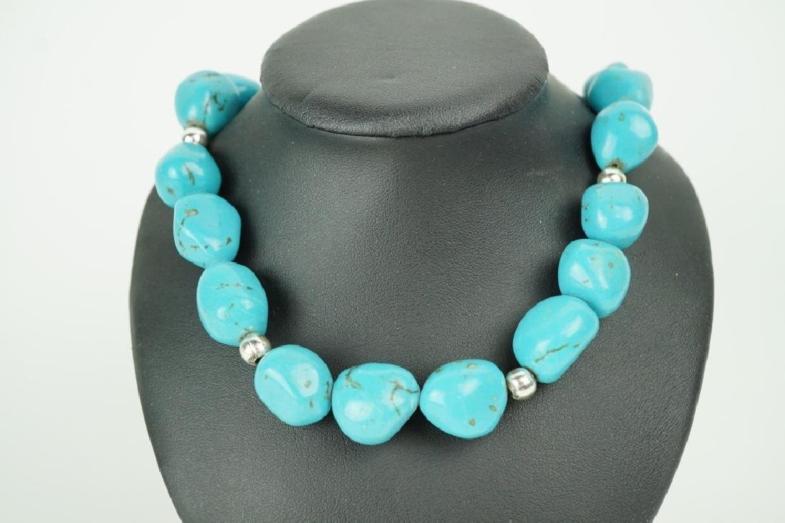 STERLING & TURQUOISE BEADED NECKLACE