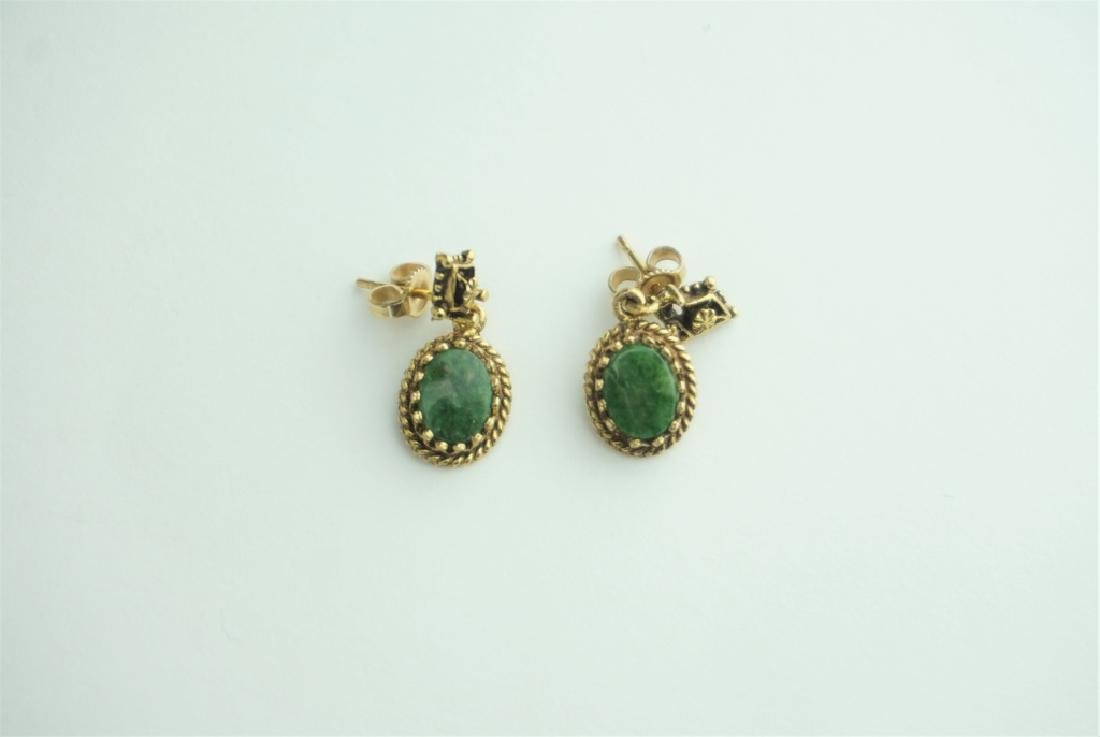 PAIR 14K YELLOW GOLD AND GEMSTONE EARRINGS