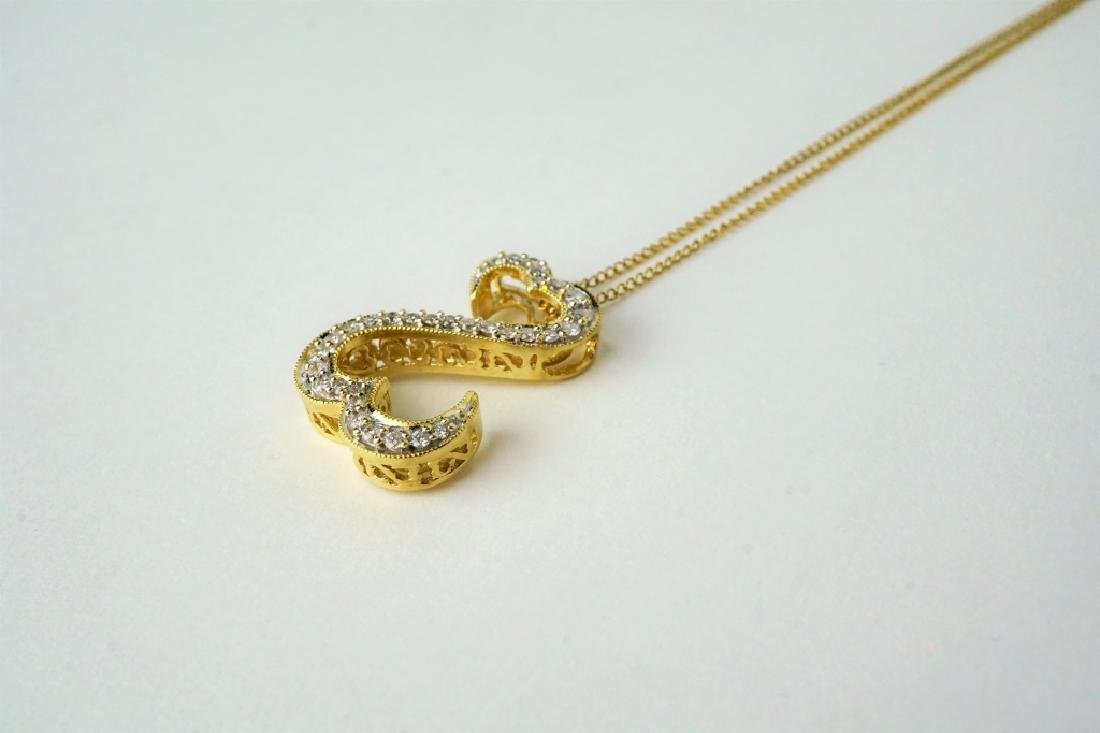 14K YELLOW GOLD OPEN HEARTS DIAMOND NECKLACE