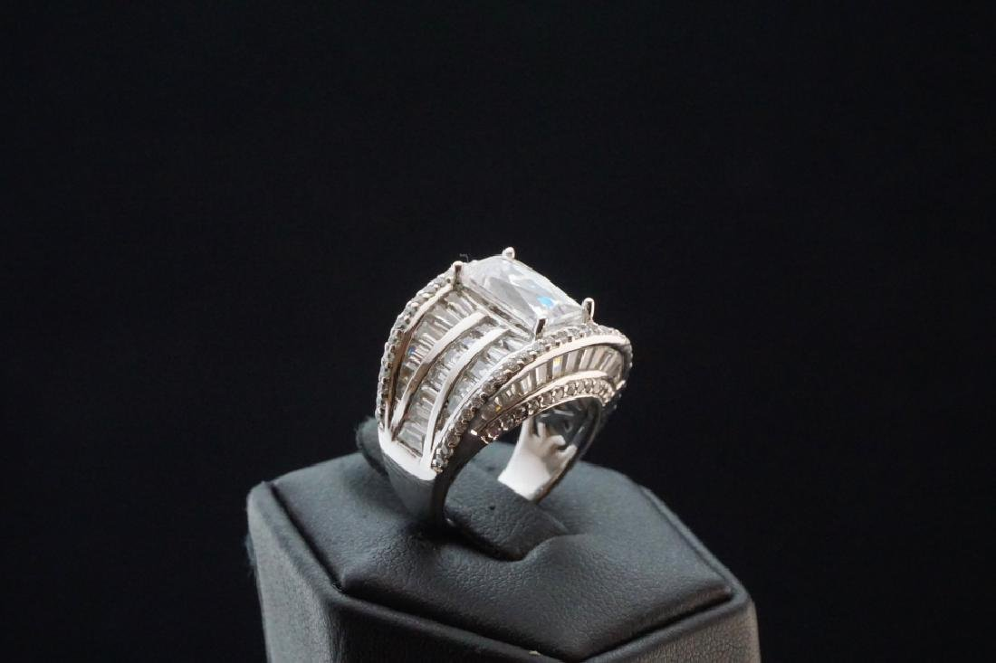 STERLING SILVER TYCOON CUBIC ZIRCONIA RING