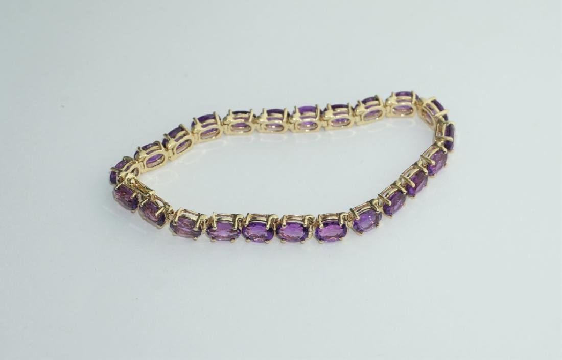 14K YELLOW GOLD AMETHYST TENNIS BRACELET