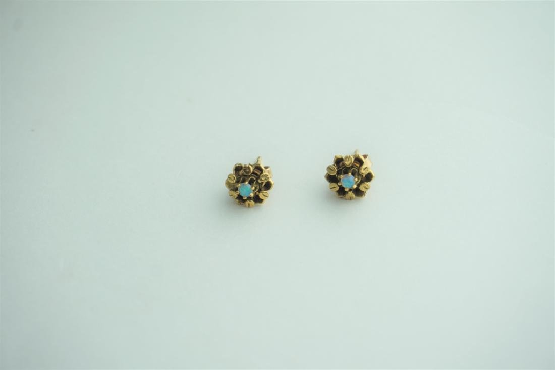 PAIR OF 14K YELLOW GOLD AND OPAL EARRINGS