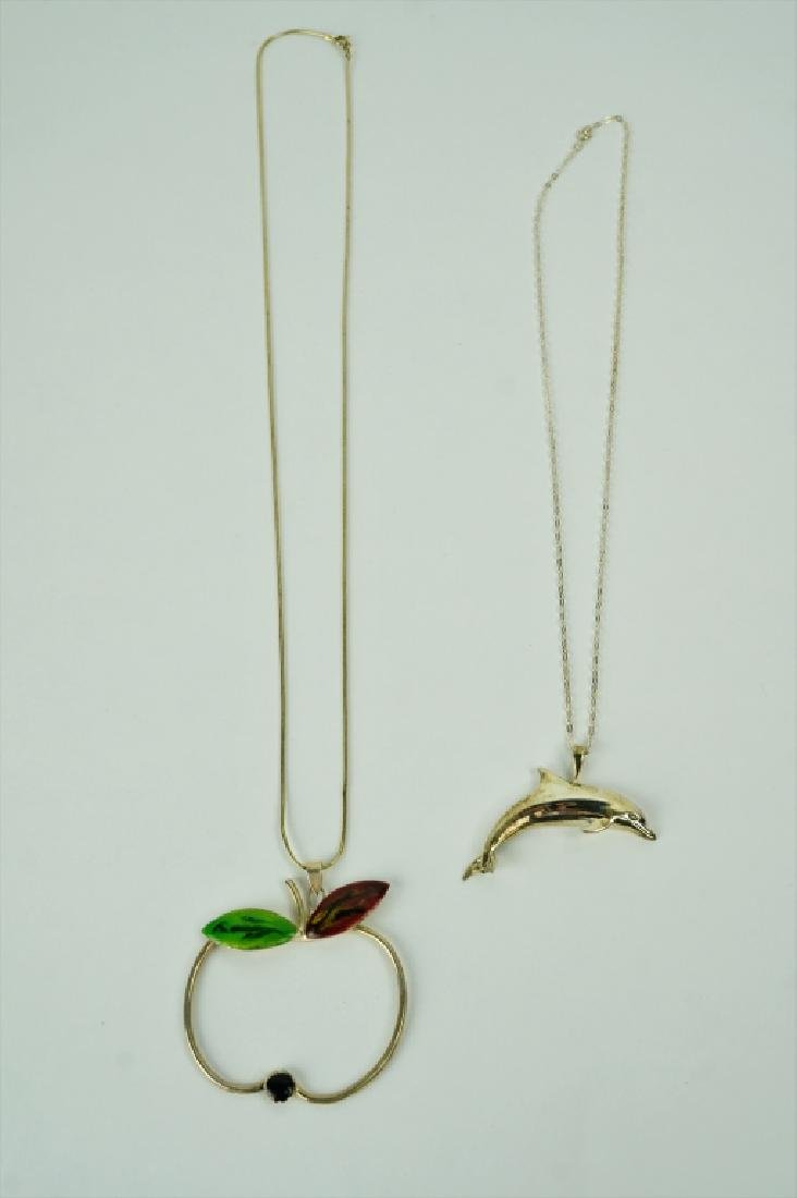 (2) STERLING SILVER NECKLACES WITH PENDANTS