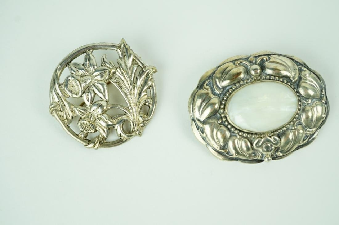(2) ASSORTED SILVER BROOCHES