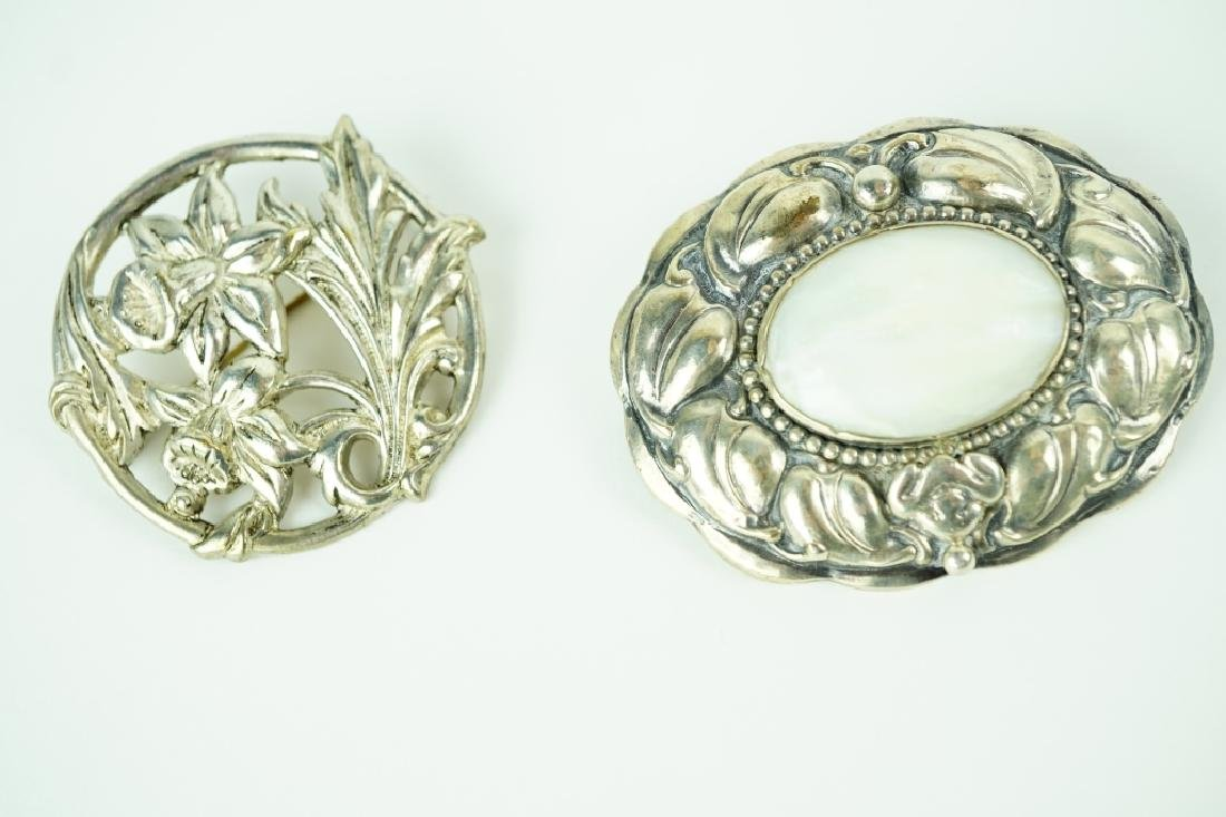 (2) ASSORTED SILVER BROOCHES - 2