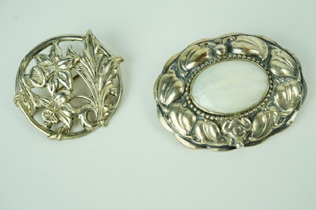 (2) ASSORTED SILVER BROOCHES - 3