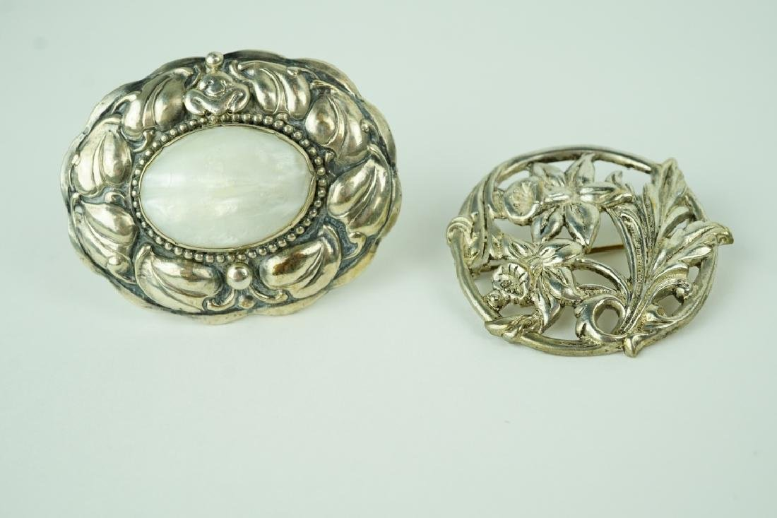 (2) ASSORTED SILVER BROOCHES - 7