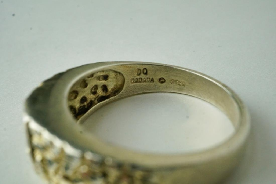 VINTAGE GABANA DIAMOND STERLING SILVER MEN'S RING - 2