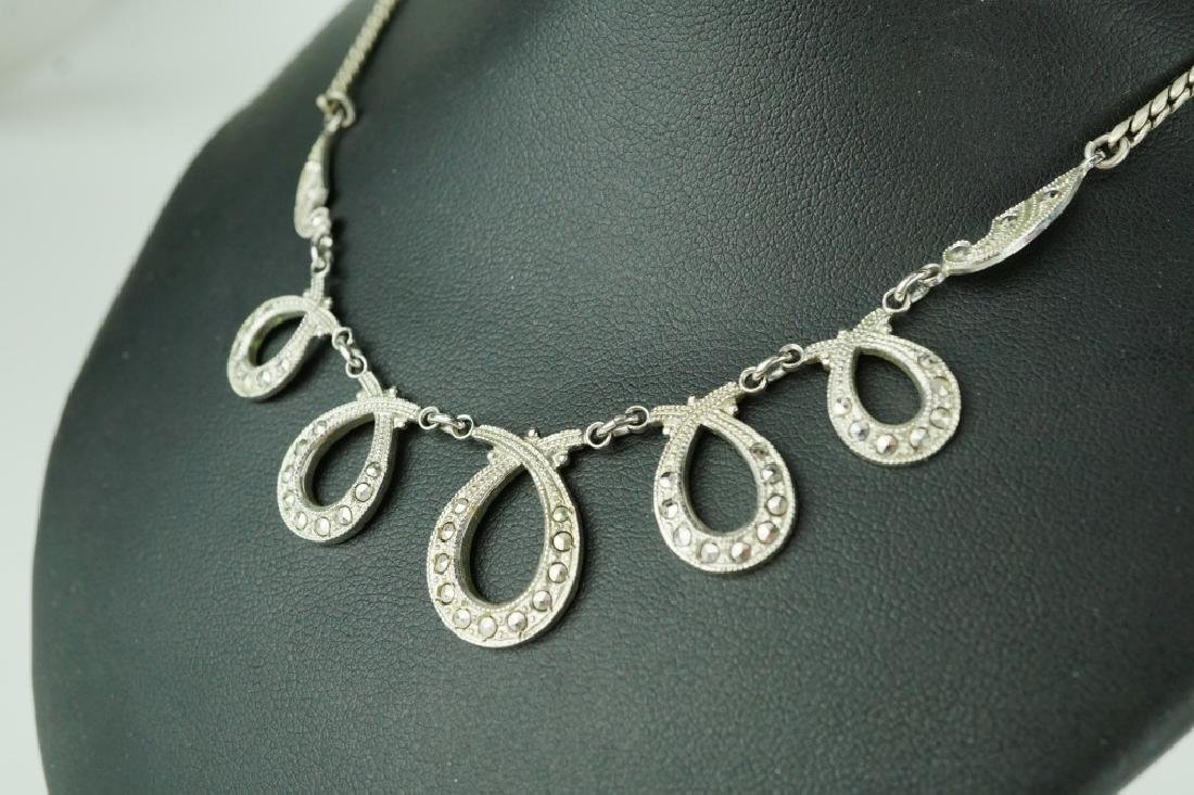 VINTAGE THEDA STERLING SILVER MARCASITE NECKLACE