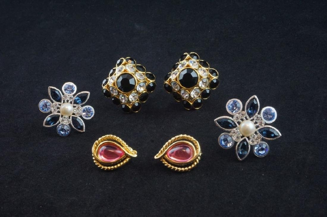(3) PAIRS DESIGNER CRYSTAL CLIP-ON EARRINGS
