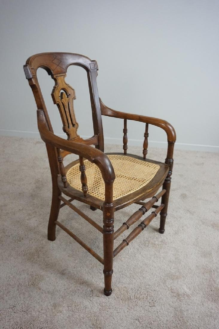 ANTIQUE WALNUT & OAK CANE CHAIR