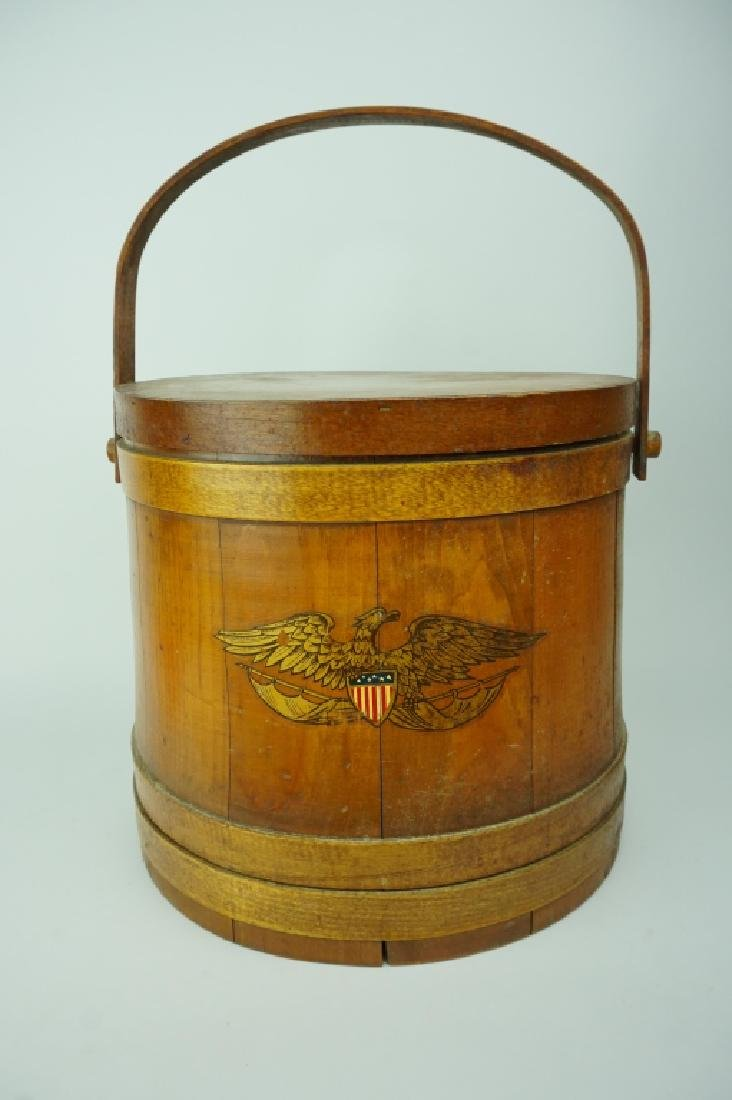 VINTAGE WOODEN FIRKIN WITH EAGLE DECORATION