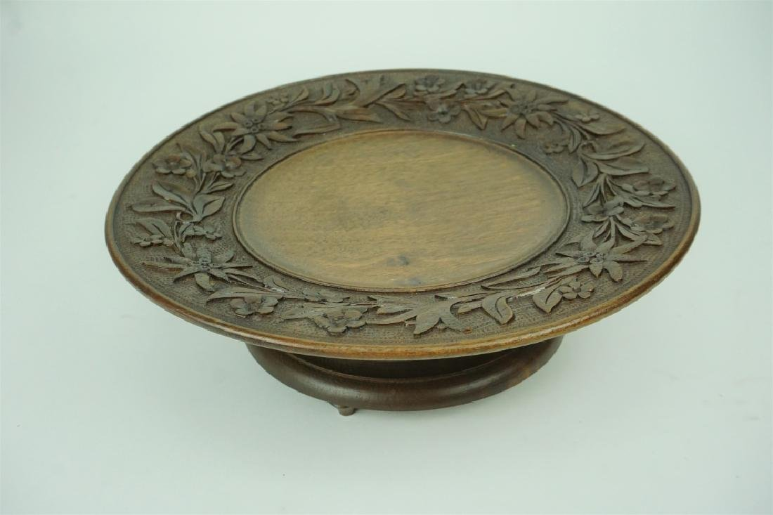 ANTIQUE BLACK FOREST CARVED MUSICAL BON BON TRAY