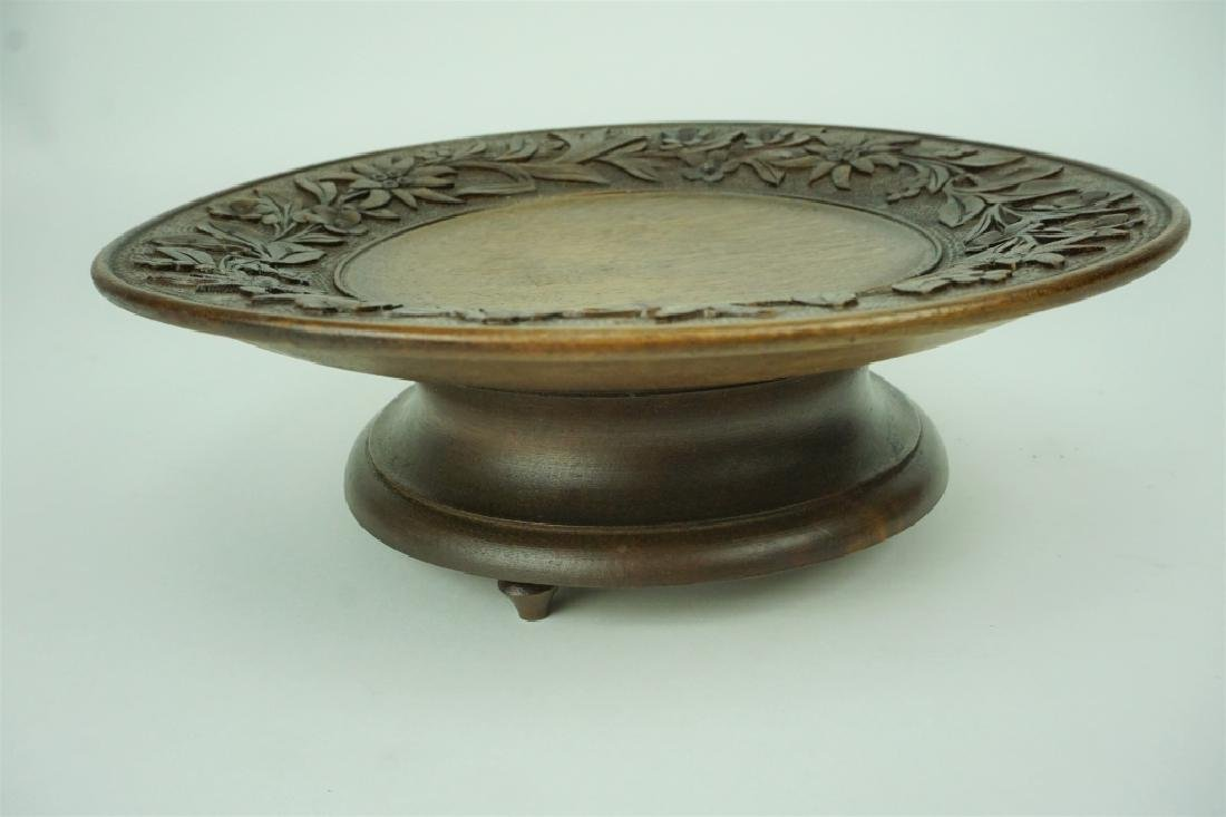 ANTIQUE BLACK FOREST CARVED MUSICAL BON BON TRAY - 2