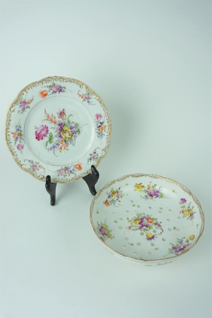 ANTIQUE DRESDEN FRUIT BOWL WITH PLATE