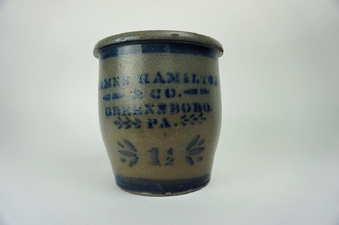 ANTIQUE JAMES HAMILTON & CO STONEWARE CROCK