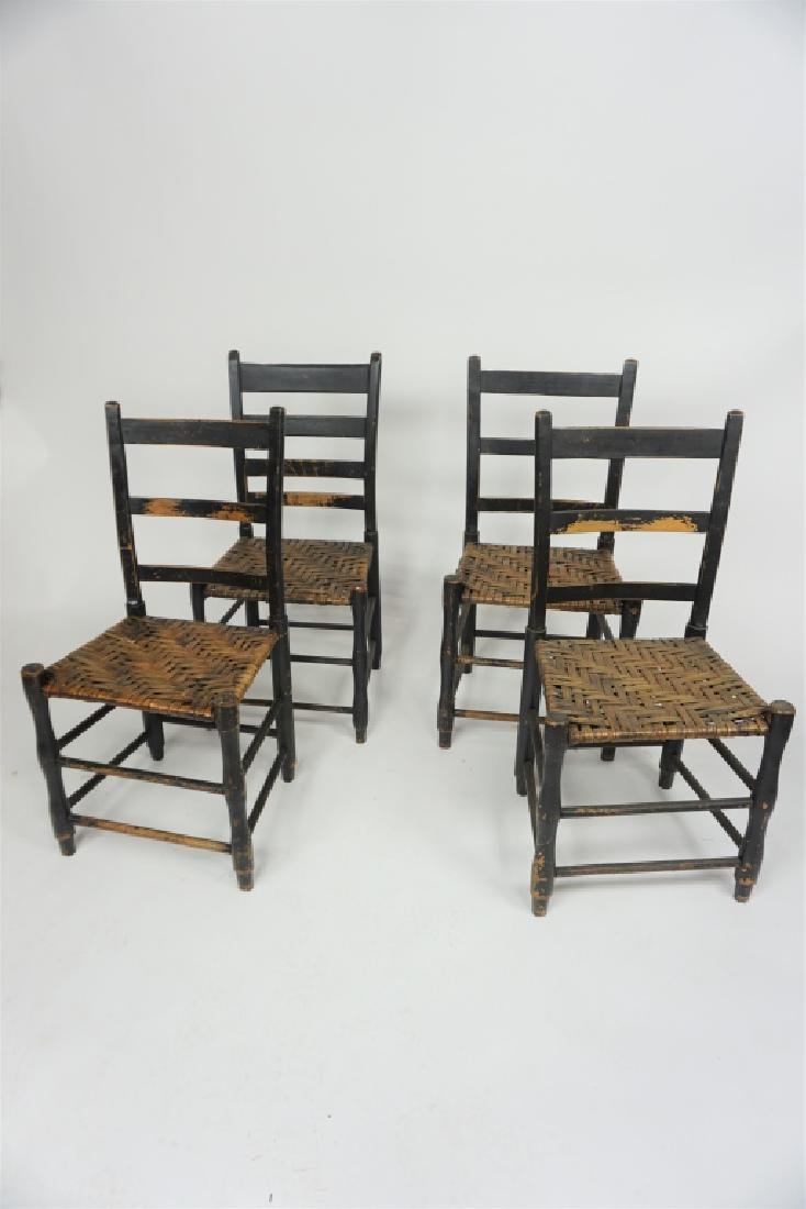 (4) ANTIQUE THATCH SEAT CHAIRS