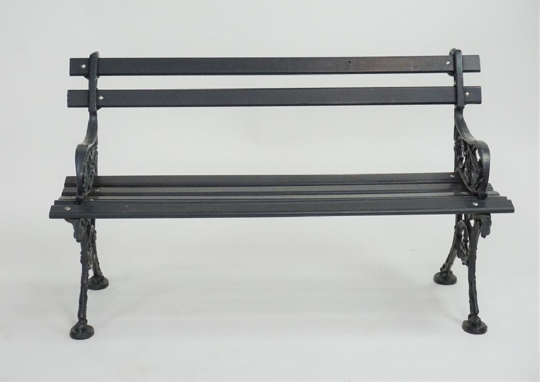 VINTAGE WOOD & CAST IRON BENCH