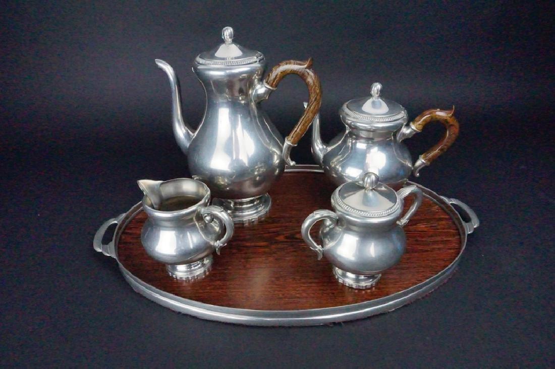5pc ROYAL HOLLAND DAALDEROOP PEWTER COFFEE & TEA
