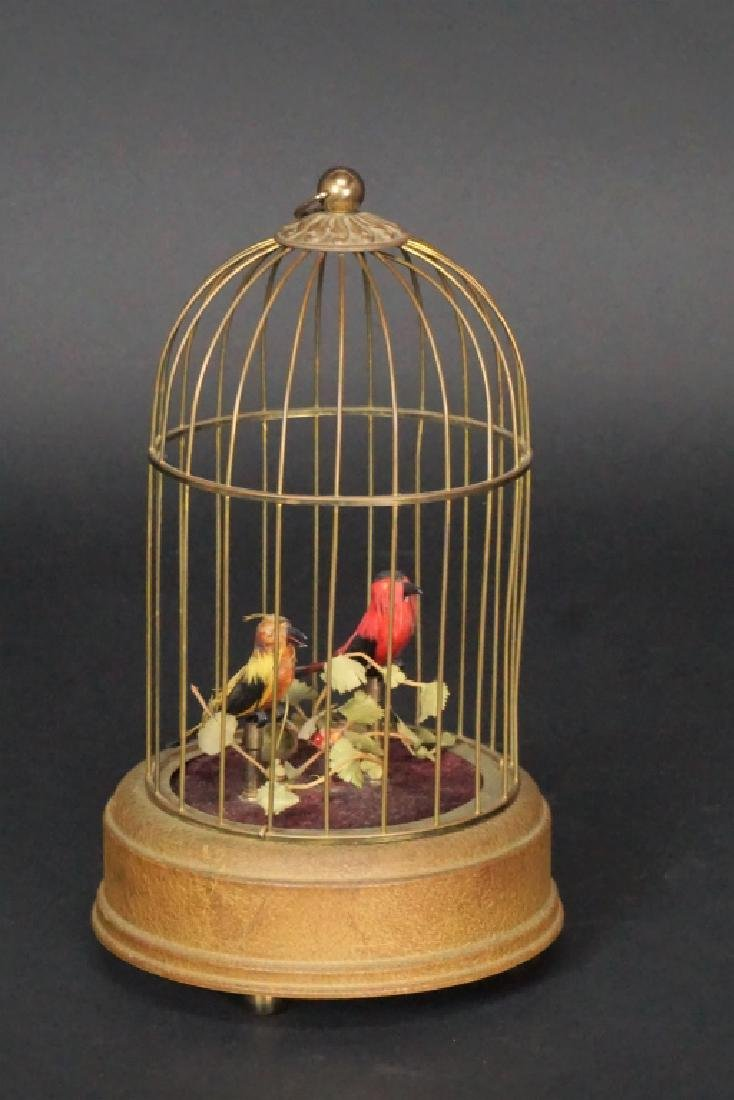 VINTAGE BRASS BIRD CAGE MUSIC BOX
