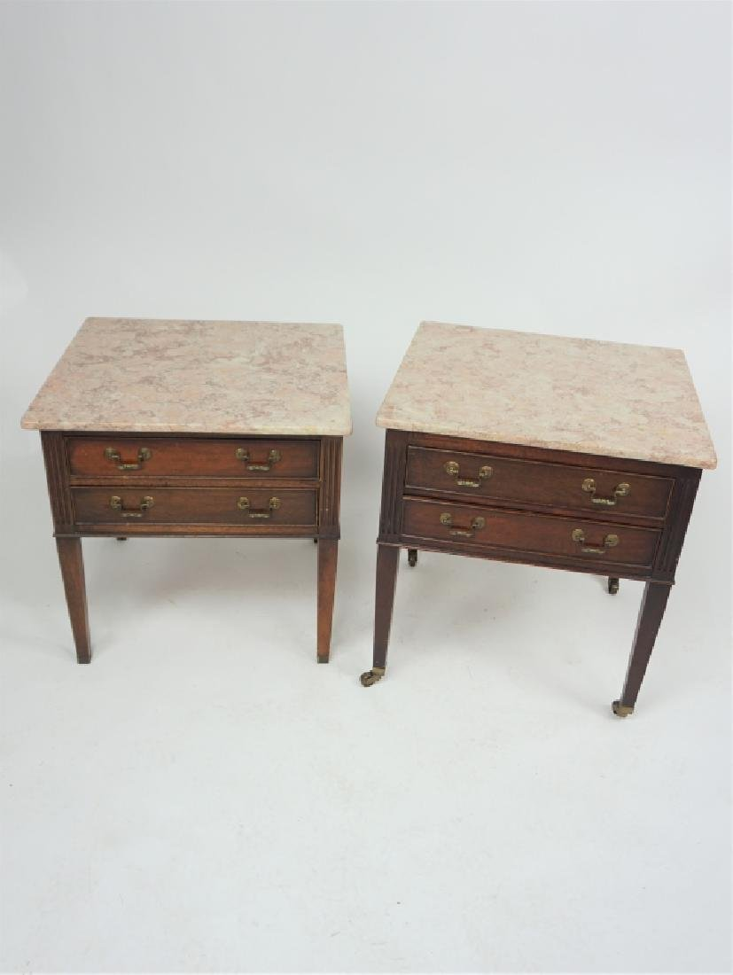 PAIR OF VINTAGE MARBLE TOP END TABLES