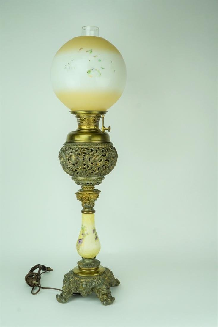 ANTIQUE ELECTIFIED BRADLEY & HUBBARD OIL LAMP