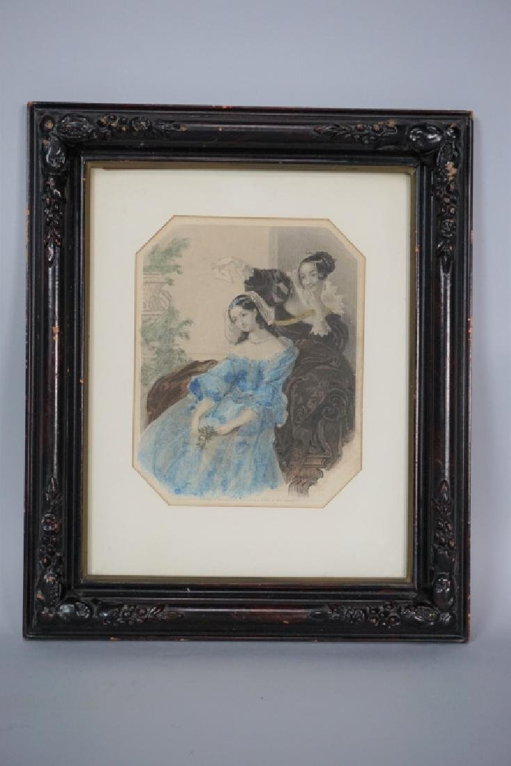 "HAND COLORED ""MISS CORRAUX"" ENGRAVING"